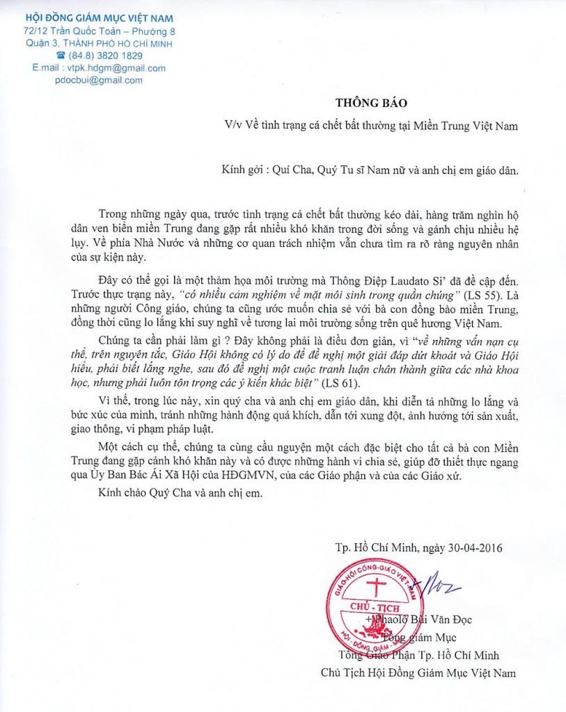 Thông báo của HĐ Giám mục Việt Nam, 30/4/2016, Sài Gòn. Nguồn: HĐGMVN