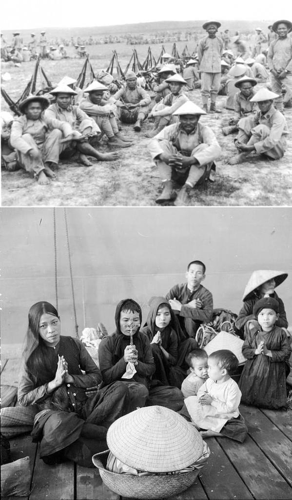 Trên: Người Việt đi lính cho Pháp trong WWI. Dưới: Giáo dân miền Bawsctreen đường di cư vào Nam 1954. Nguồn: Tổng hợp