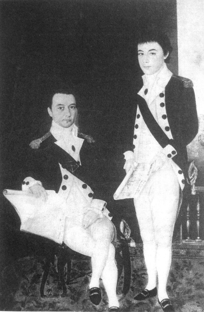 "ean-Marie Dayot (left) and his brother Félix Dayot (right). By Unknown - Early 19th century French painting. Reproduction in Mantienne ""Monseigneur Pigneau de Behaine"", Public Domain, https://commons.wikimedia.org/w/index.php?curid=4951877"