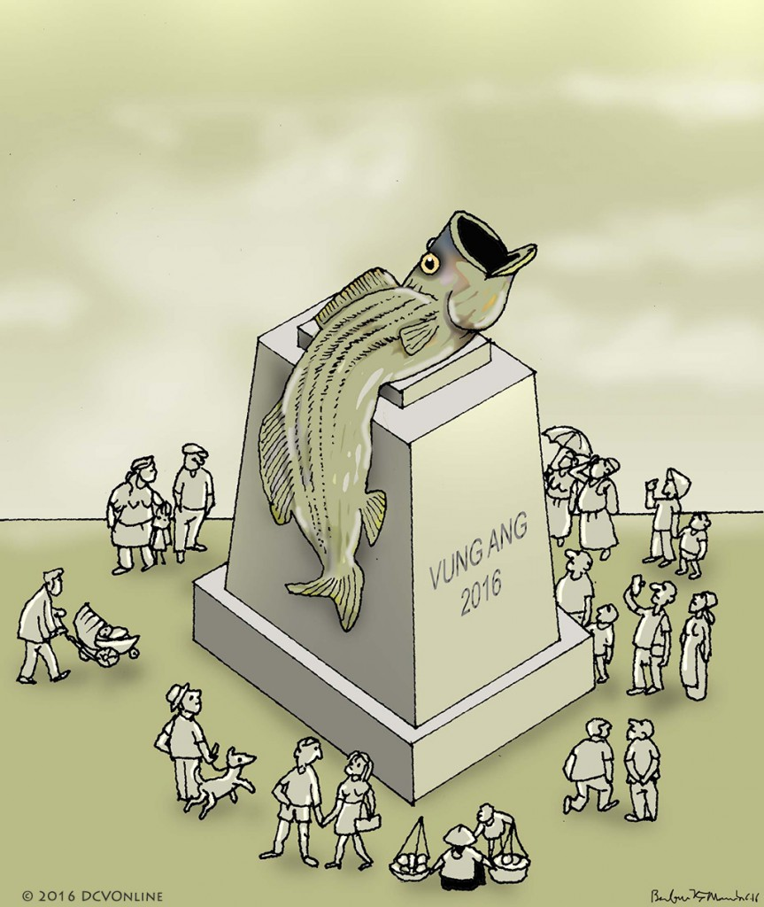 Tượng đài cho cá chết. Tranh Babui.