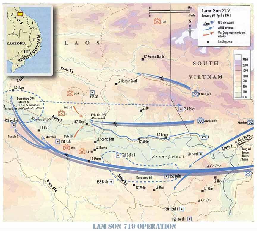 Bản đồ Chiến dịch Lam Sơn 719. Nguồn: http://vnafmamn.com/