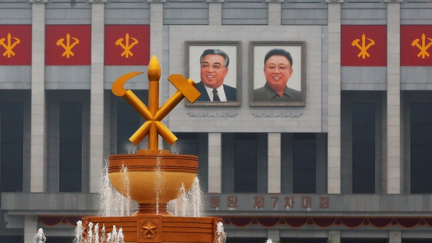 Kim Il Sung and Kim Jong Il decorate April 25 House of Culture, the venue of Workers' Party of Korea (WPK) congress in Pyongyang, North Korea May 6, 2016. REUTERS/Damir Sagolj - RTX2D1Y8 (Damir Sagolj/Reuters)