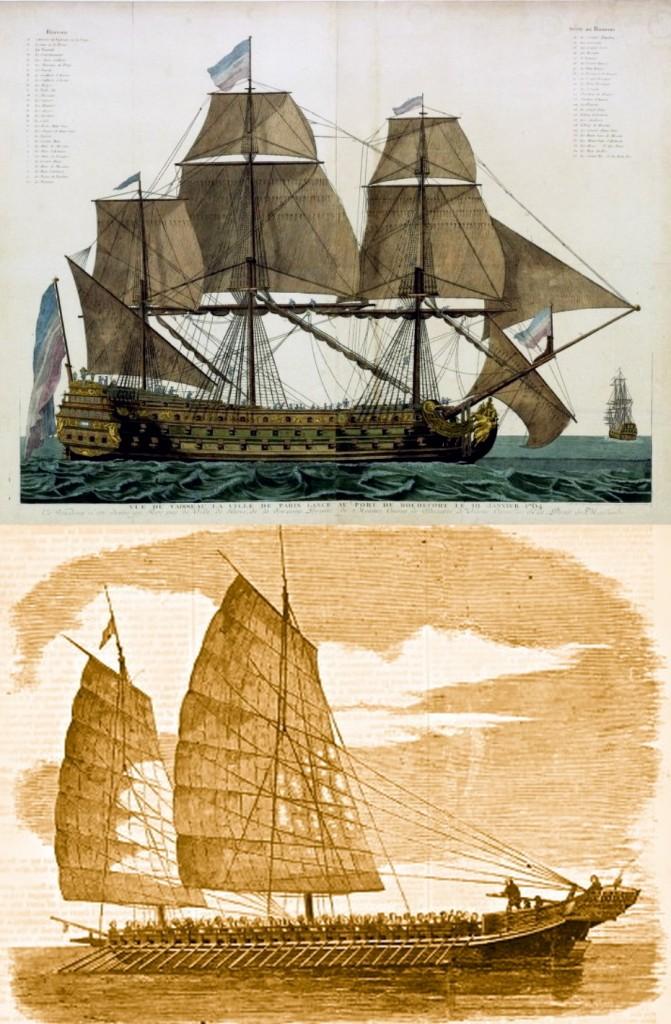 Trên:  Chiến thuyền Ville de Paris in Rochefort, 1764 Nguồn: Tác giả nặn danh - Europeana, domaine public, Public Domain, https://commons.wikimedia.org/w/index.php?curid=20944788. Dưới:  Chiến thuyền của cướp biển Tầu đầu thế kỷ 19 ở Quảng Đông. Nguồn: http://www.greendragonsociety.com/. Cướp biển Trung Hoa là một phần lực lượng của Tây Sơn.
