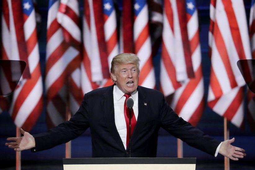 Ứng viên Tổng thống Đảng Cộng hòa Donald J. Trump, nói trong ngày cuối cùng của Hội nghị Quốc gia đảng Cộng hòa ở Cleveland, Thứ Năm, 21 Tháng Bảy, 2016. Nguồn: AP Photo / J. Scott Applewhite.