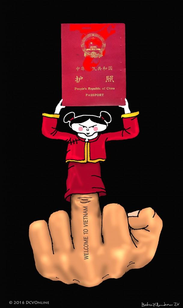 Việt Nam đù hộ chiếu lưỡi bò. Tranh Babui.