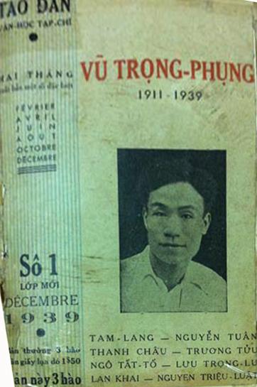 Bìa Tạp chí Tao Đàn số đặc biệt tưởng niệm Vũ Trọng Phụng (1939)