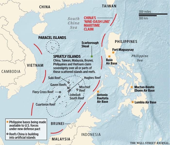 Tranh chấp Biển Đông. Nguồn: WSJ