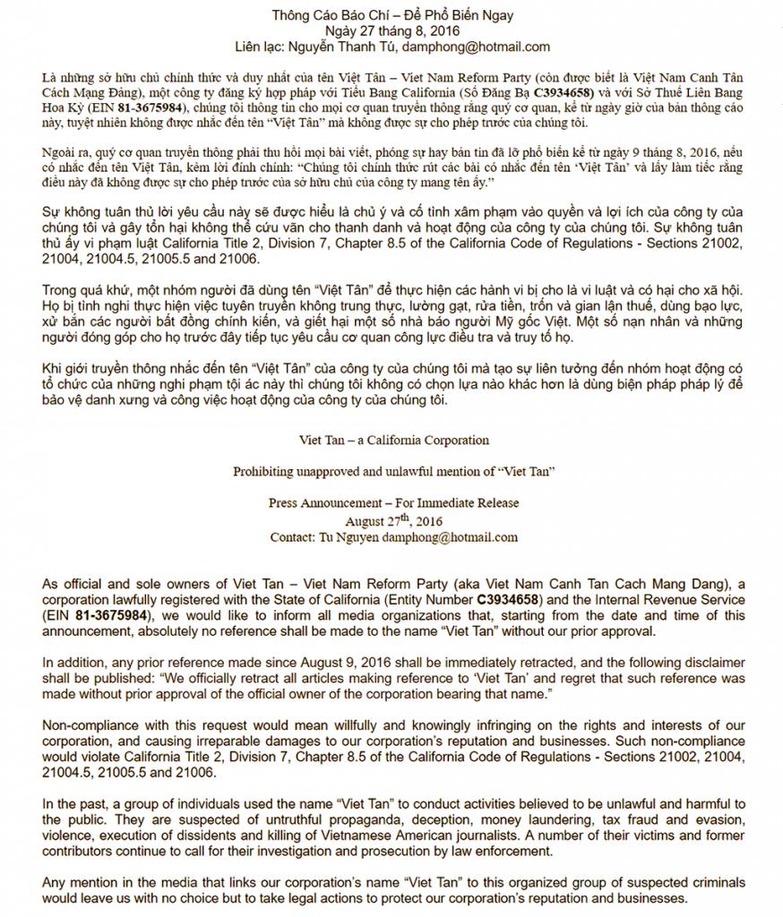 Thông cáo báo chí của công ty Việt Tân.