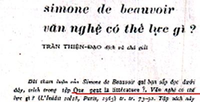 "Que peut la littérature? ""văn nghệ có thế lực gì?"". Nguồn: Văn, số 78, năm 1967 chủ đề Simone de Beauvoir."