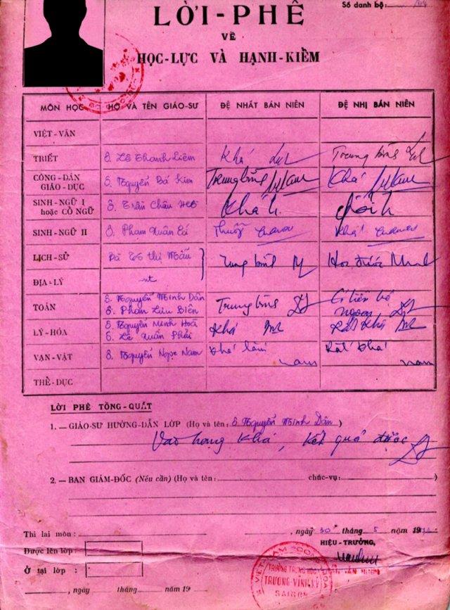 Lời phê của Thầy/Cô trong Thành tích biểu của một học trò trường Trương Vĩnh Ký. Nguồn: DCVOnline.
