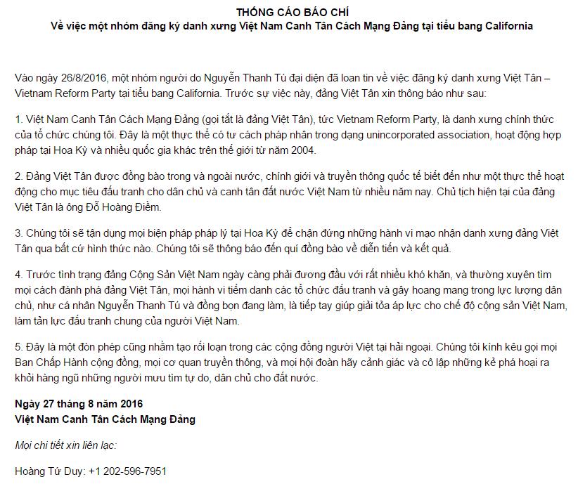 Thông cáo báo chí của hội Việt Tân.