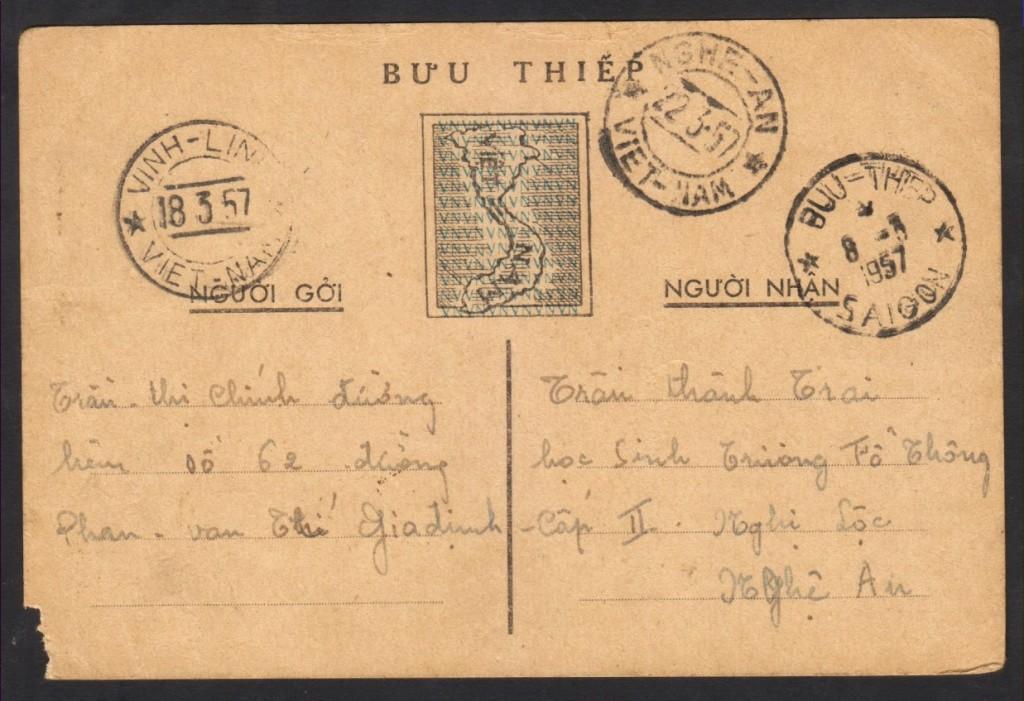 Bưu tiếp Bắc Nam (Bản đâu tiên, 1955-7). Nguôn: TTK