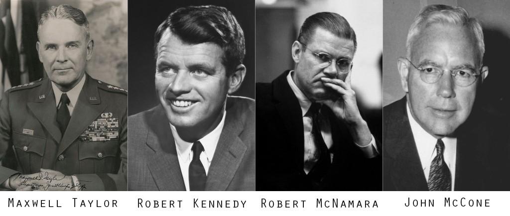 Theo lời của TT Kennedy, 4 nhân vật chủ trương không đảo chánh chính phủ Ngô Đình Diệm là M. Taylor, R. Kennedy, T. McNamara, và J. McCone. Nguồn: DCVOnline tổng hợp