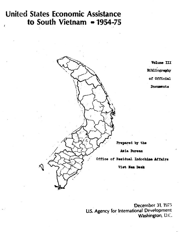 Thư mục tài liện về Viện trợ của Mỹ cho VNCN từ 1954-1975. Nguồn: USAID, 31/12/1975