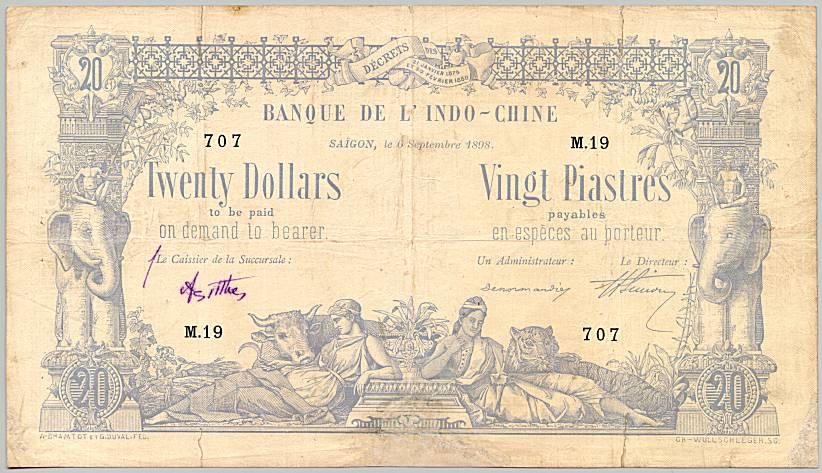 20 đồng )Tiền Đông Dương). Nguồn:  Banque de l'Indochine - Wikiwand