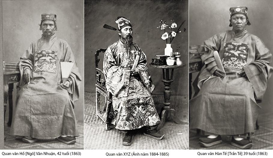 Ba vị quan văn triều Nguyễn (Tự Đức  & Duy Tân). Nguồn:  Jacques-Philippe Potteau và Charles-Édouard Hocquard