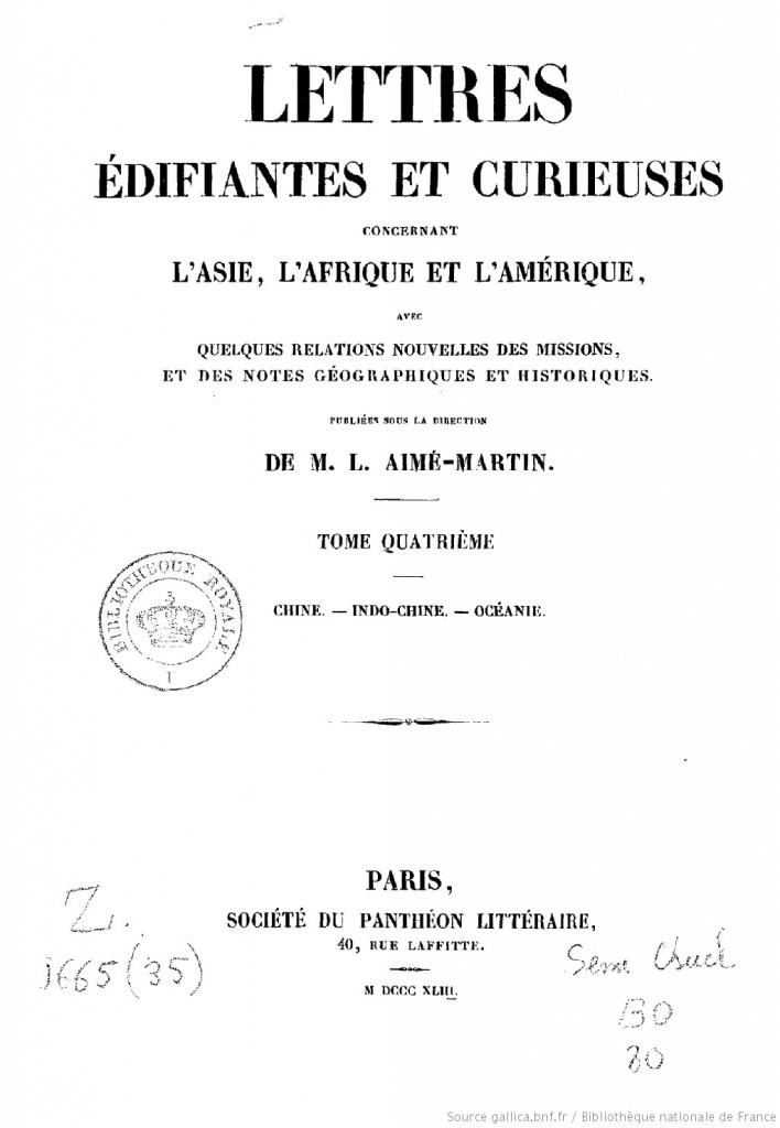 Lettres édifiantes et curieuses, Tập iV. Nguồn:  Gallica - Bibliothèque nationale de France