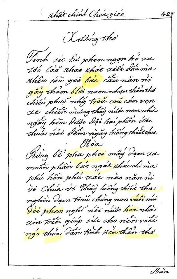"""Philiphê Bỉnh, """"Nhật Trình Kim Thư Khất Chính Chúa Giao"""", trang 427"""