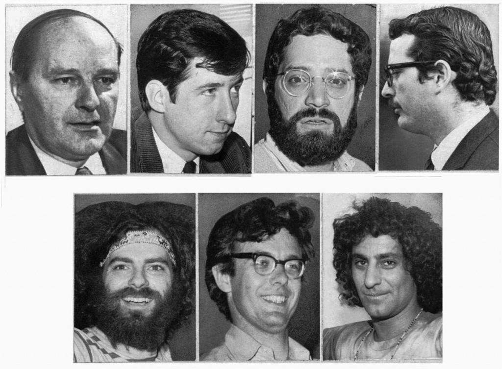 Những bức ảnh không đề ngày tháng của 7 nhân vật Chicago. (Hàng trên từ trái): David Dellinger, Thomas E. Hayden, Lee Weiner và John R. Froines. (Hàng dưới từ trái): Jerry Rubin, Rennard C. Davis và Abbie Hoffman. Nguồn: AP Photo