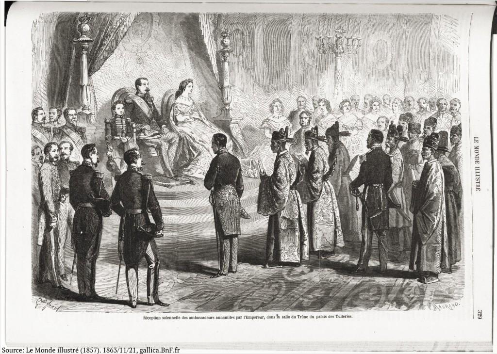Sứ đoàn Việt Nam được Đại đế Napoleon III tiếp tại điện Tuileries này 5/11/1865. Nguồn: Tuần báo Le Monde illustré (1857). Năm thứ 7, Số 343, ngày 21/11/1863. gallica.BnF.fr