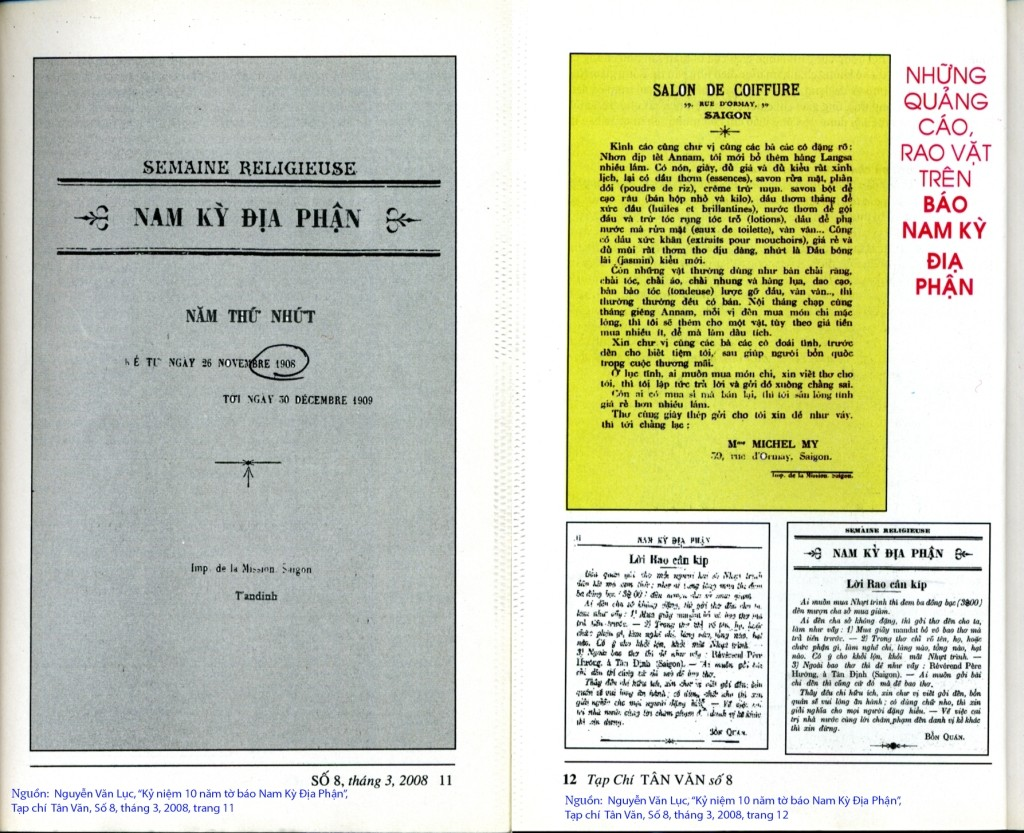 Báo Nam Kỳ Địa Phận số 1, năm thứ nhất, ngày 26/11/1908 và những quảng cáo trên tờ báo. Nguồn: Nguyeecn Văn Lục, Kỷ niệm 100 năm tờ báo Nam Kỳ Địa Phận, Tạp chí Tân Văn, số 8, tháng 3, 2008. trang 11-12.