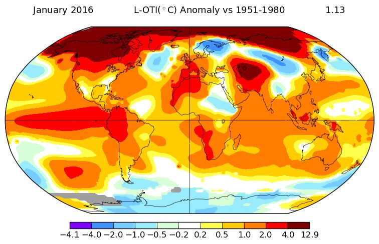 Mô hình của những vùng nhiệt độ dị thường trên toàn cầu trong tháng Giêng 2016 cho thấy đặc biệt ấm áp bất thường ở phía bắc vĩ độ cao, trên khắp Canada, Greenland và Siberia. Nhìn chung, nhiệt độ trung bình toàn cầu là 1,13 độ C, hoặc ít hơn 2 độ F, ấm hơn so với mức trung bình dài hạn. (Nguồn: NASA Goddard Viện Nghiên cứu Không gian.)