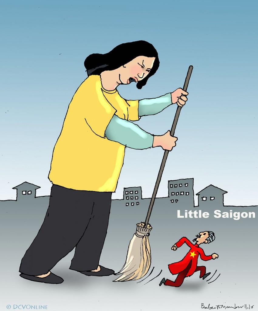 Khi Hùng cửu long đến Little Saigon. Tranh Babui.