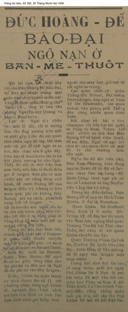 Tin Bảo Đại gẫy chân trong một cuộc đi chơi núi. Nguồn:  Tràng An báo, Số 382, 20 Tháng Mười Hai 1938  (Page 1)