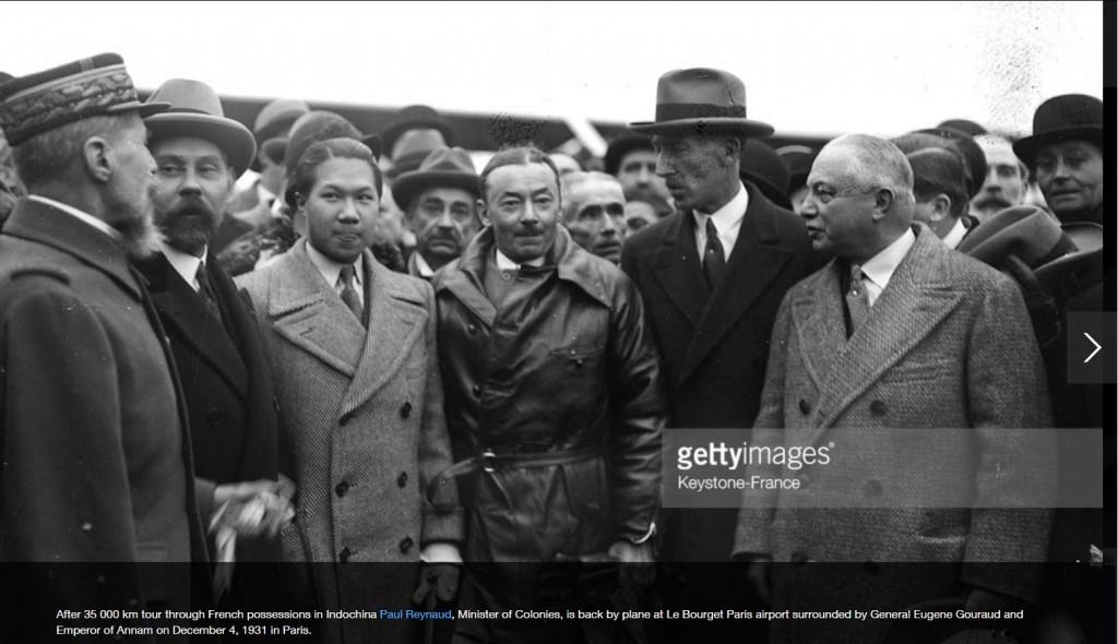 Bảo Đại đón Bộ trưởng Bộ Thuộc địa sau chuyến công tác ở Đông Dương tại Paris, 1931. Nguồn: Getty Images.