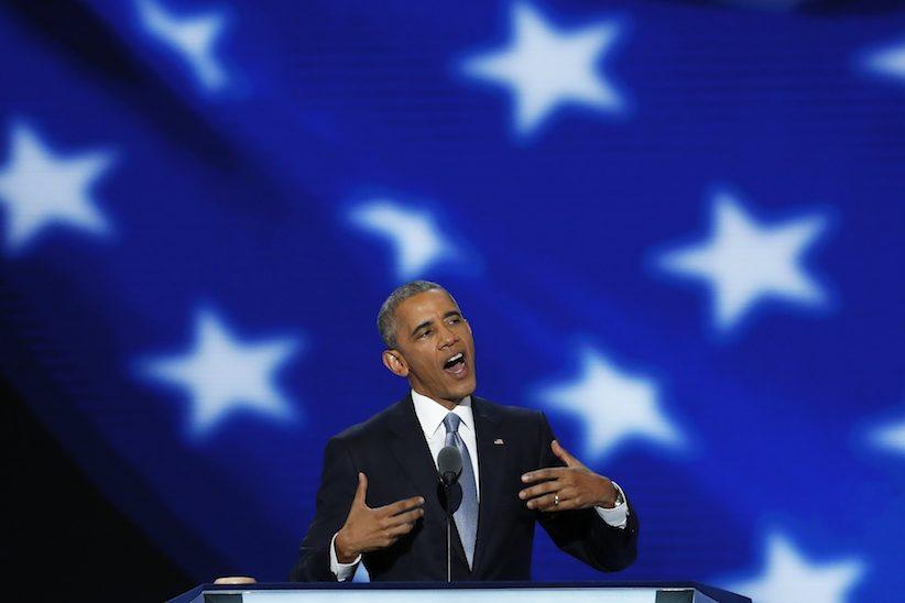 Tổng thống Barack Obama nói trong ngày thứ ba của Đại hội toàn quốc của đảng Dân chủ ở Philadelphia, Thứ Tư, 27 Tháng 7, 2016. Nguồn: AP Photo / J. Scott Applewhite