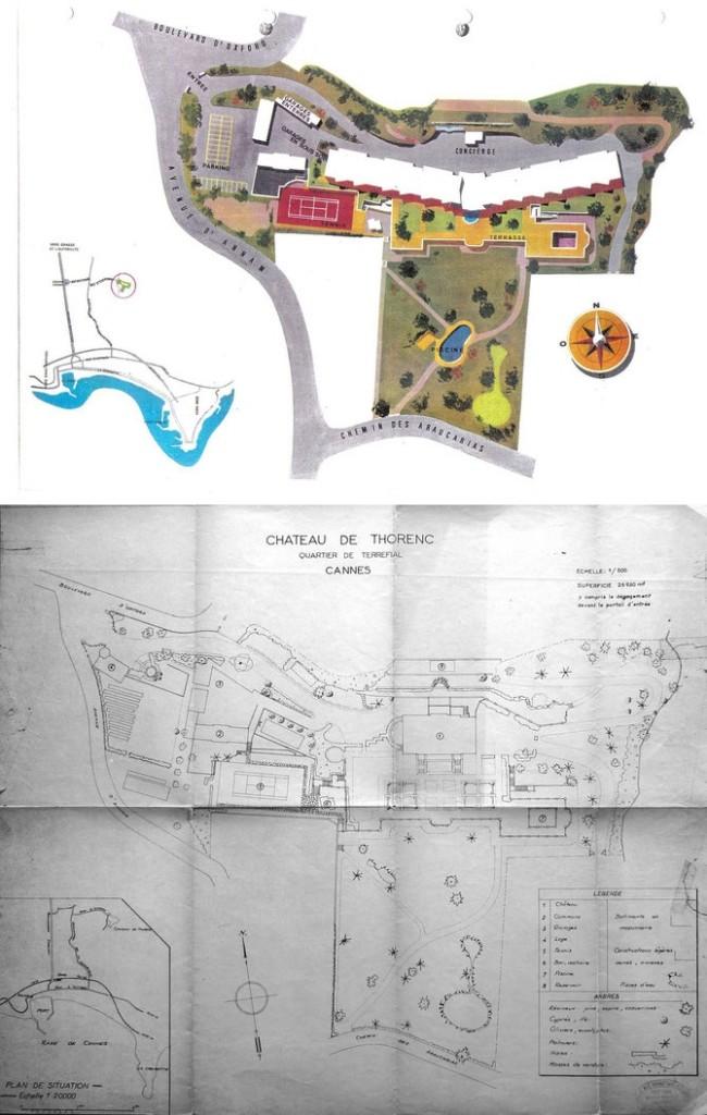 Hoạ đồ khu vực lâu đài Thorenc của Bảo Đại mua từ năm 1937 và sống ở đó đến những năm 1960. Toàn diện khu đất rộng 26.930 m2. Nguồn:  http://bit.ly/2hO33IY