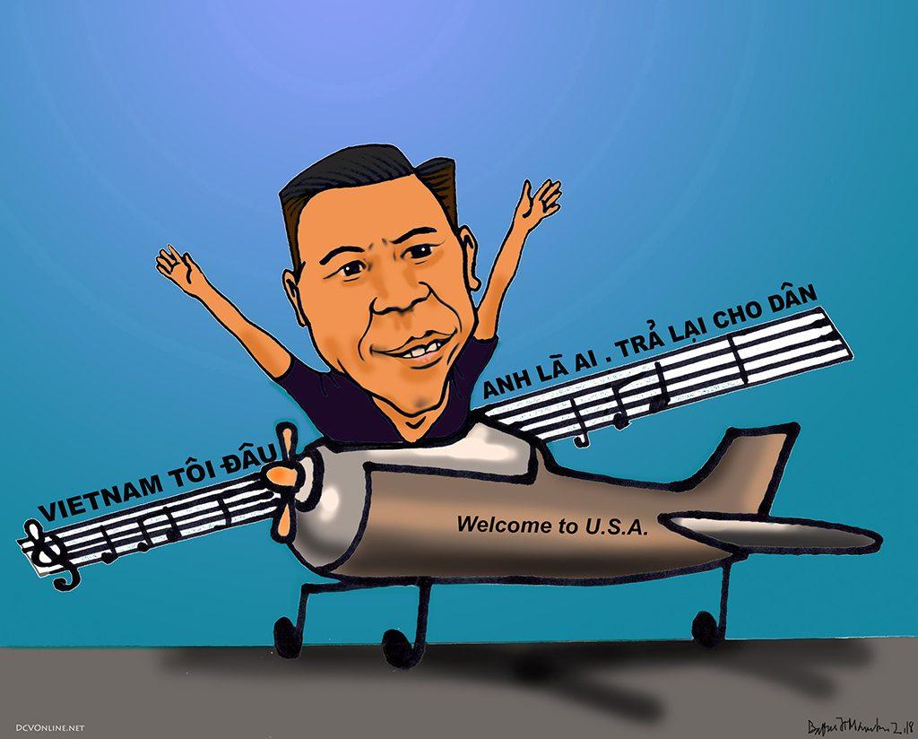 Chào mừng Việt Khang đến Mỹ. Tranh Babui.